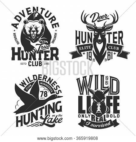 Hunting Sport T-shirt Prints, Isolated Vector Monochrome Icons. Wild Animals Chase T-shirt Print Tem