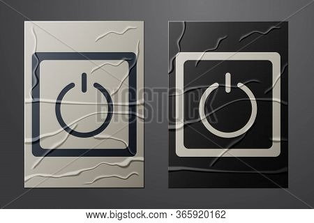 White Electric Light Switch Icon Isolated On Crumpled Paper Background. On And Off Icon. Dimmer Ligh