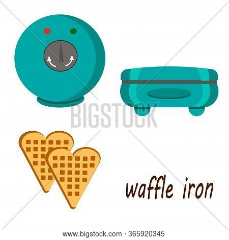 Waffles And Waffles-iron Vector Illustration. Drawing Of Kitchen Appliances On A White Background.