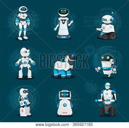 Set Of Robotic Creatures. Collection Of Humanoids And Androids Of Different Shapes And Model. Robot