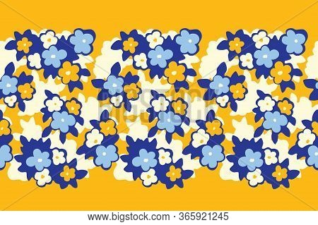Hand Drawn Artistic Naive Daisy Flowers On Yellow Background Vector Seamless Pattern Border. Blob Bl