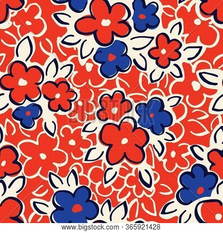 Hand Drawn Artistic Naive Daisy Flowers On Red Background Vector Seamless Pattern. Blue Blob Blooms,
