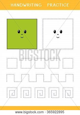 Handwriting Practice Sheet With Square Shapes. Simple Educational Game For Kids. Vector Illustration