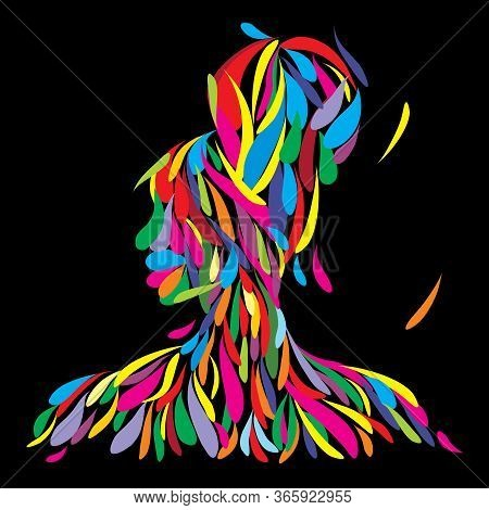 Abstract Vector Illustration Of An Afro American Empowered Woman In Bold Design And Bright Colors