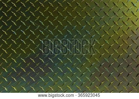 3d Rendered High Resolution Diamond Plate Background In A Brushed Spiral Multi Colored Effects, Grea