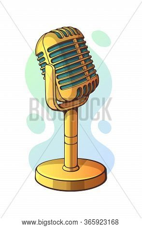 Vector Illustration. Golden Retro Microphone For Music, Sound, Voice, Speak, Radio Recording. Clip A