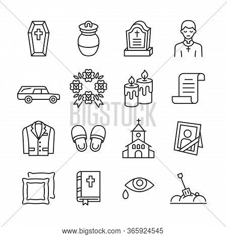 Funeral Agency Line Icon Set. Hearse, Coffin, Gravestone, Wreath, Suit, Bible, Priest Flat Vector Il