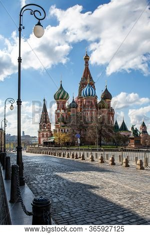 Russia, Moscow, May 2020. St. Basil's Cathedral, Vasilyevsky Descent. Monument To Minin And Pozharsk