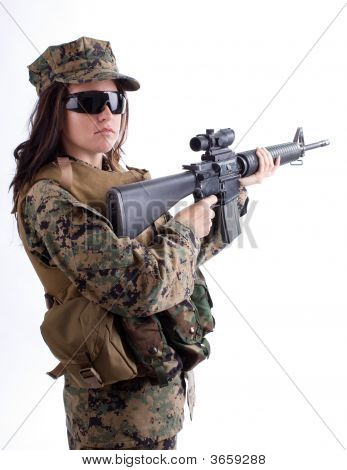 Army Girl With Cap And Gun