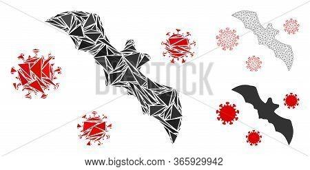 Triangle Mosaic Bat Virus Icon With Mesh Vector Model. Bat Virus Mosaic Icon Of Triangle Items Which