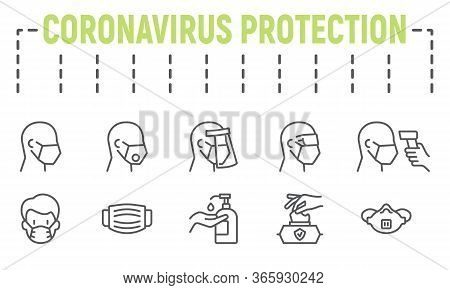 Medical Safety Equipments Line Icon Set, Coronavirus Protection Symbols Collection, Vector Sketches,
