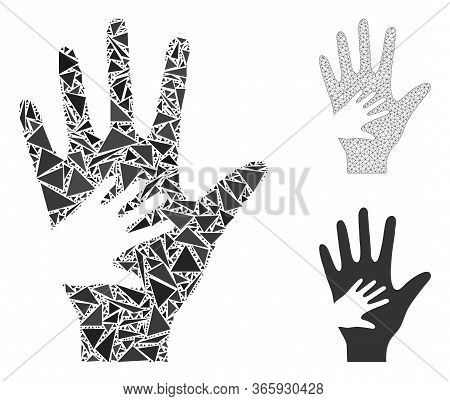 Triangle Mosaic Help Hand Icon With Mesh Vector Model. Help Hand Mosaic Icon Of Triangle Elements Wh