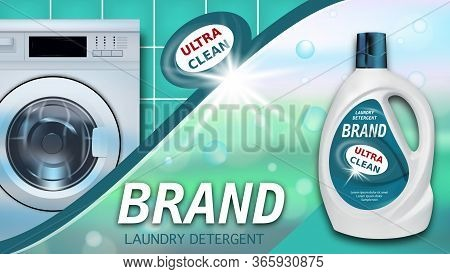 Laundry Detergent. Package Design For Liquid Detergents Ads With Realistic Washing Machine. Branded