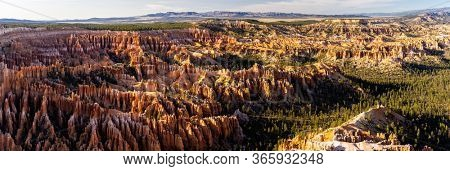 Panorama Landscape Hoodoos in Bryce Canyon National Park viewpoint in Utah United States. USA American National Park Landscape travel destinations and tourism concept. Web Banner crop.