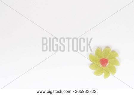 Flat Lay Composition By Flower With Delicious Jelly Candies Isolated On White Background,  Different