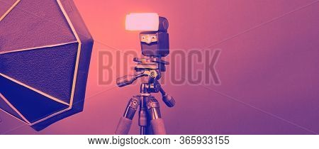 Flash Light On Tripod In Studio Production Set Up For Photographer