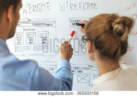 Ui Ux Designers Team Working On New Website Wireframe In Office