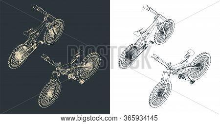 Mountain Bike Isometric Illustrations