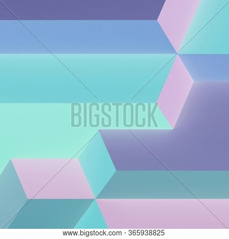 Abstract Colorful Cgi Background. Minimal Glowing Geometric Pattern, 3d Rendering Illustration