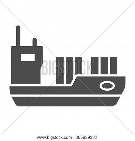 Tanker Solid Icon, Transport Symbol, Cargo Ship Vector Sign On White Background, Oil Tanker Ship Ico