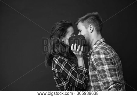 Couple Kiss Behind Heart. Happy Valentines Day. Love And Romance. Man And Girl Kiss On Love Date. Ro
