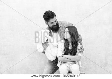 Conflict Resolution. Family Conflict. Conflict Between Father And Daughter. Small Child Feel Offende