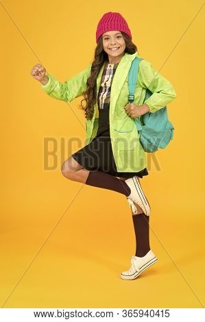 Backpack As Fashion Accessory. Girl Little Fashionable Cutie Carry Backpack. Modern For Daily Life.
