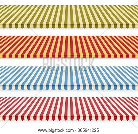 Shop Sunshades Set. Store Awning Tents. Outdoor Striped Market Canopy. Vector Illustration.