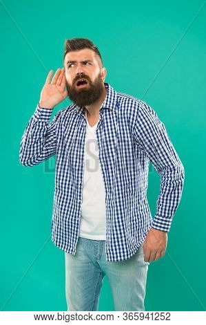 Say Again. Bearded Man Is Hard Of Hearing. Deafness Or Hearing Loss. Ear And Hearing Care. Hearing D