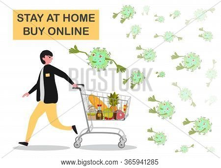 Man Doing Shopping In Supermarket With Shopping Basket. The Virus Attacks The Buyer In Supermarket.