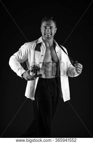 Romantic Mood. Macho Muscular Torso Hold Gift Box. Sexy Athletic Macho Muscular Chest. Athlete Man H