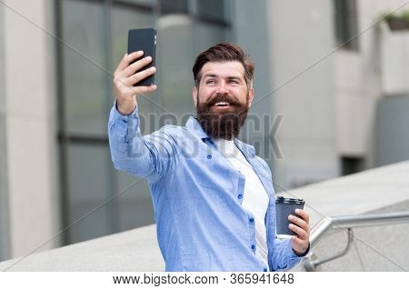 My Selfie And My Phone. Bearded Man Take Selfie With Smartphone. Happy Hipster Pose To Camera Phone.