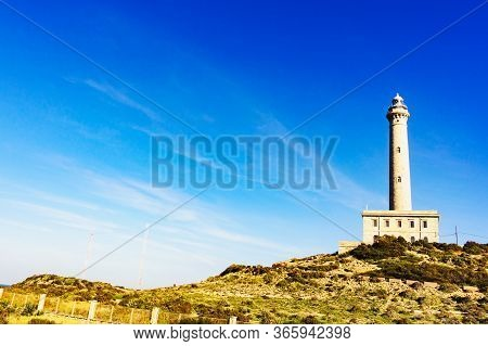 Cape Palos Lighthouse, Cartagen Murcia Region, Spain. Tourist Site