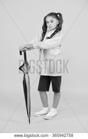 Match Your Raincoat With Umbrella. Schoolgirl Wear Raincoat. Small Schoolgirl Wear Water Resistant C