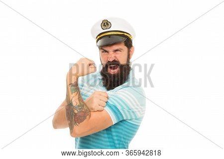 Strong Muscles. Sailor Spirit. Bearded Sailor Isolated On White. Sailor Or Seaman With Long Beard An