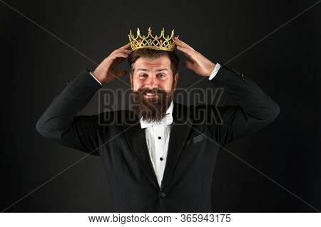 Like Never Before. King Of Style. Bearded Man Wear Golden Crown. Elegant Man In Formal Wear At Speci