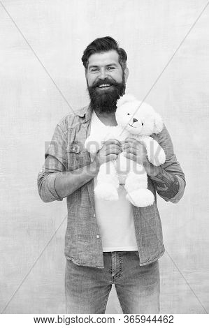 Fluffy Teddy Bear Toy. Brutal Hipster Hold Bear Toy. Happy Valentines Day Present. Gift For Your Bel