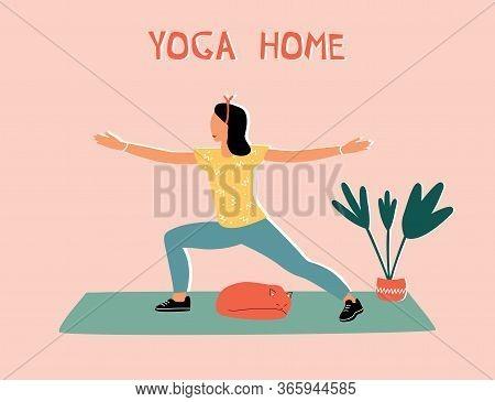 Woman Doing Yoga At Home. Illustration With Warrior Pose, Virabhadrasana.