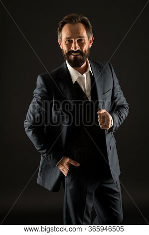 Success In His Veins. Bearded Man In Formal Wear. Senior And Brutal Boss. Male Office Fashion. Matur