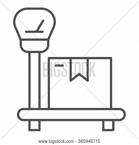 Package On Scales Thin Line Icon, Delivery And Logistic Symbol, Industrial Cargo Weight Scale Vector