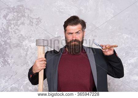 Proper Tools. Brutal Methods. Old Weapon. Barbershop Hairstyle. Brutal Barber. Daring Barber Concept