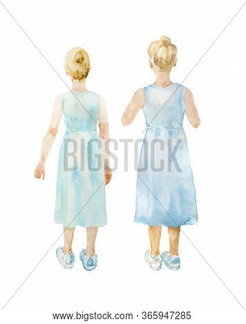 Watercolor Girl With Blond Hair In Blue Dress And Sneackers Standing Back To Watcher. Two Options Wi