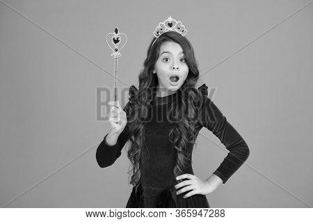 Magic Trick. Magic Stick Concept. Cute Kid Doing Magic. Amazing Miracles. Little Child Long Hair Bea