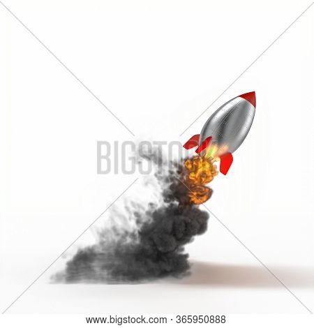 vintage cartoon metal rocket taking off with a lot of smoke and flames in sight. on white background. 3d render. concept of starting, success.