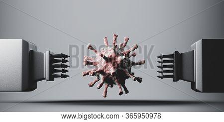 Conceptual killing coronavirus COVID-19. Inventing effective treatment, vaccine or drug concept. 3D illustration