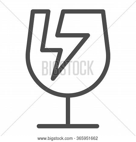 Broken Glass Symbol Of Fragile Cargo Line Icon, Logistic And Delivery Symbol, Fragile Or Breakable M