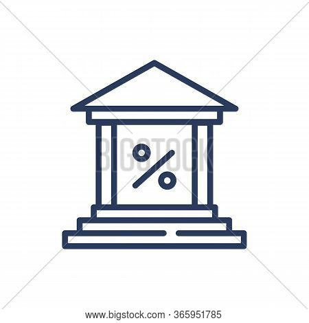 Bank And Percent Sign Thin Line Icon. Business, Discount, Interest Isolated Outline Sign. Bank Lendi