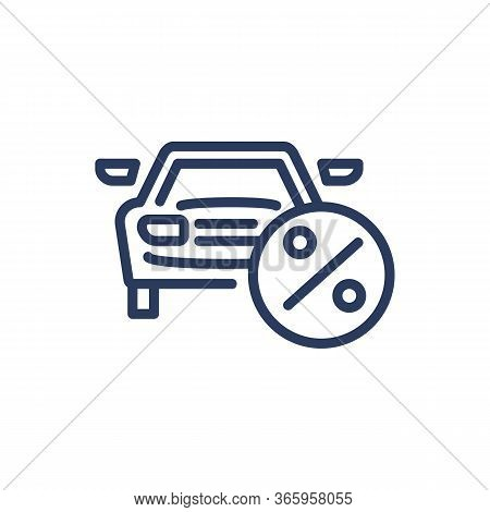 Car Loan Thin Line Icon. Money, Purchase, Automobile Isolated Outline Sign. Bank Lending And Crediti