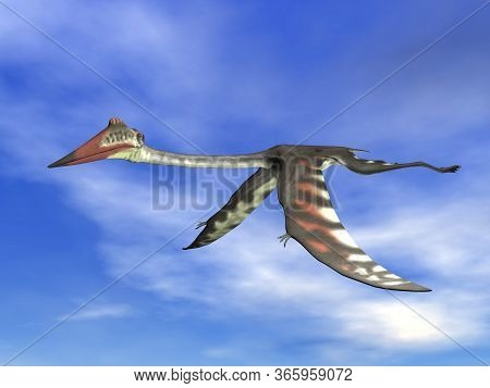 Quetzalcoatlus Fyling Peacefully In A Blue Cloudy Sky By Day - 3d Render