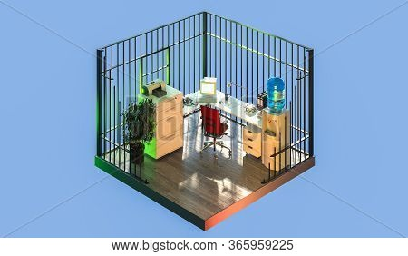 Home Office Interior, In Cut. Feeling Like Behind Bars And Under Imprisonment. 3d Rendering.